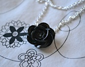 Blooming Black Rose Cabochon Necklace