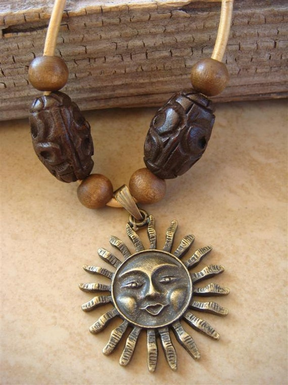 Golden Sunshine - Brass Sun Charm on Gold Leather Cord with Wooden Bead Accents