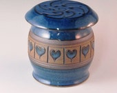 French Butter Keeper With Hearts And  Slip Work On Top