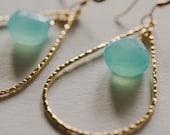 14kt Gold Hoop Earrings, Aqua Chalcedony Natual Stone, Medium Texturized Gold Hoops