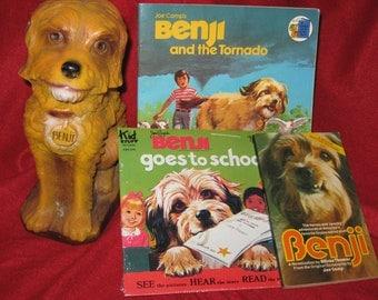 Instant Benji Collection, Benji Piggy Bank, 2 Benji soft back books and Benji Record Book Set