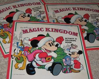 3 Walt Disneys Magic Kingdom Activity & Coloring Book, Walt Disney Productions, Christmas Coloring Books
