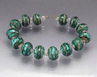 Lampwork glass bead set teal bleu green round beads handmade Sea Rocks  by Anne Londez SRA OOAK