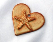 Beach Starfish Ornament  Heart in Tan and Brown