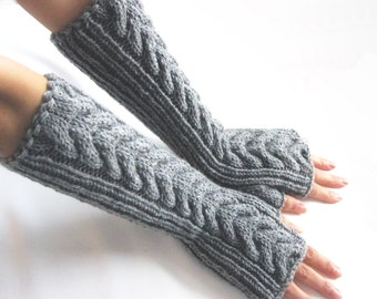 GRAY  LONG Fingerless Gloves, Merino Wool Mittens, Women Arm Warmers with cable patterns, Hand Knitted, Eco Friendly