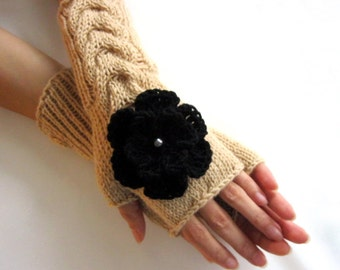 BEIGE  and BLACK...Fingerless Gloves, Merino Wool Mittens, Arm Warmers with cable pattern and crochet flowers, Hand Knitted, Eco Friendly