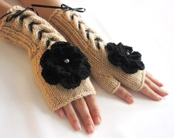 BEIGE  and BLACK...Fingerless Gloves, Wool Mittens, Arm Warmers with cable pattern and crochet flowers, Hand Knitted, Eco Friendly