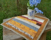 UNITY, Strip Pieced Quilt, HAND QUILTED, Primitive, Table Mat, Candle Mat, Original Design, One of a Kind, Called Unity