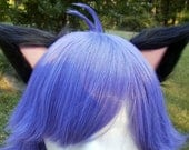 Black and Pale Pink Clip on Cat Ears