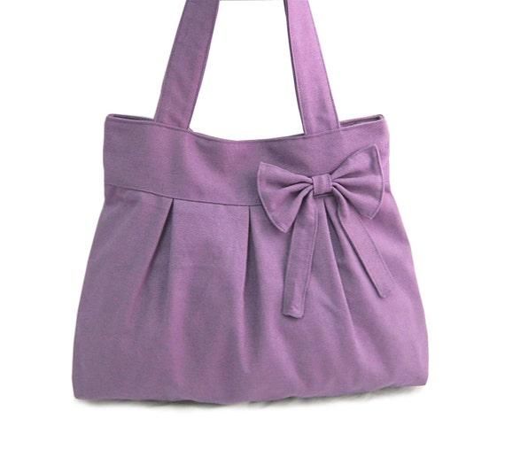 purple travel bag / tote bag / shoulder bag /diaper bag / bow canvas purse / zipper closure