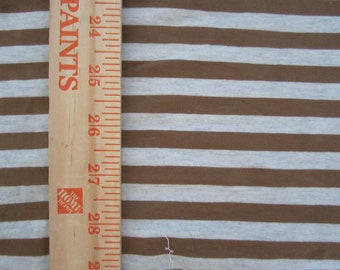 "Mocha Brown & Heathered Oat apx. 3/8"" Cotton Lycra Stripe Knit Fabric"