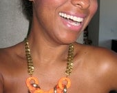 Chain Choker - Neon Orange Statement Necklace - Brass Chain Hip Hop Necklace - Free USA Shipping - Urban Style
