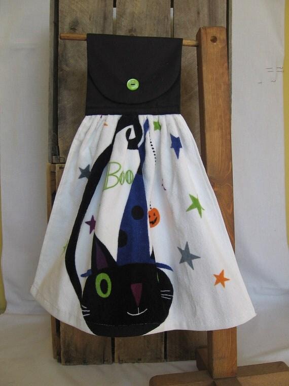Halloween Kitchen Towel Black Cat Hanging Kitchen Towel