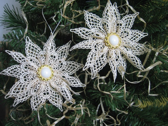 Set of 2 Beige Lace Snowflake Christmas Holiday Tree Ornament