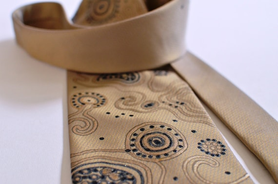 Necktie Gold Beige Men Tie Original Design OOAK Ready To Ship