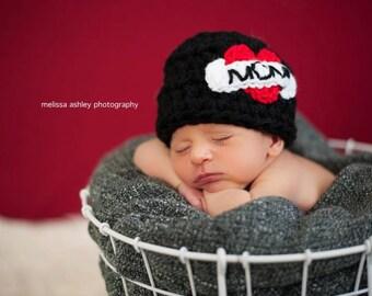 I Love Mom Dad Hat Black Photo Prop Newborn - Adult  Chunky Valentine's Day
