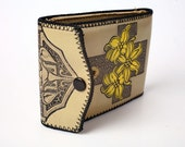 Art Deco Leather Wallet With Yellow Flowers and Cross