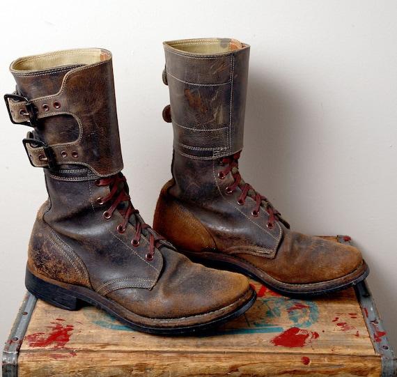 Black Friday Sale / Amazing World War II Military Issue Double Strap Boot, men's 6.5D, women's 8.5D, Hunger Games, Katniss Everdeen
