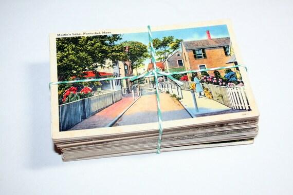 SALE 100 Vintage Used Massachusetts Postcards