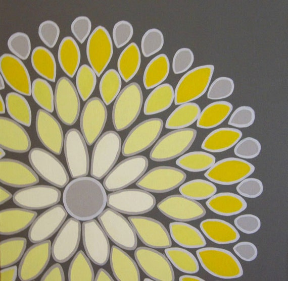 Wall art yellow and grey abstract flower 20x20 acrylic like this item mightylinksfo