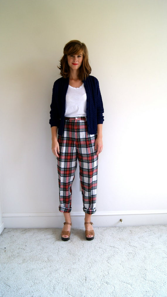 Vintage High Waist Plaid Pants. 80s / 90s Wool Trousers.