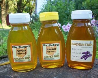 Raw Honey Sampler - Summer, Spring, and Lavender Infused Honey -three 8 ounce bottles