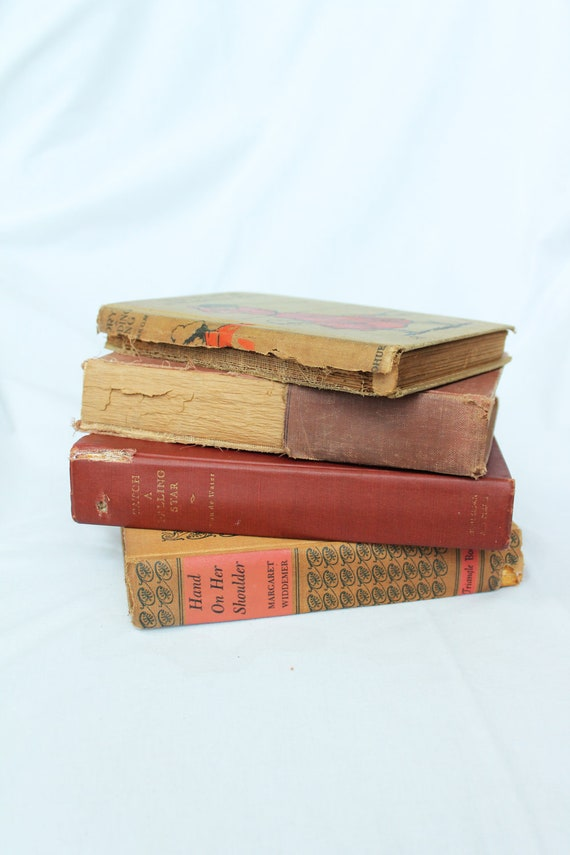 Vintage 1940s Books Red, Tan, and Coral