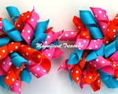 Orange, Pink, and Turquoise Korker Bow Pair