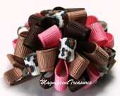 Pink Brown and Leopard Print MTMG Loopy Puff Bow