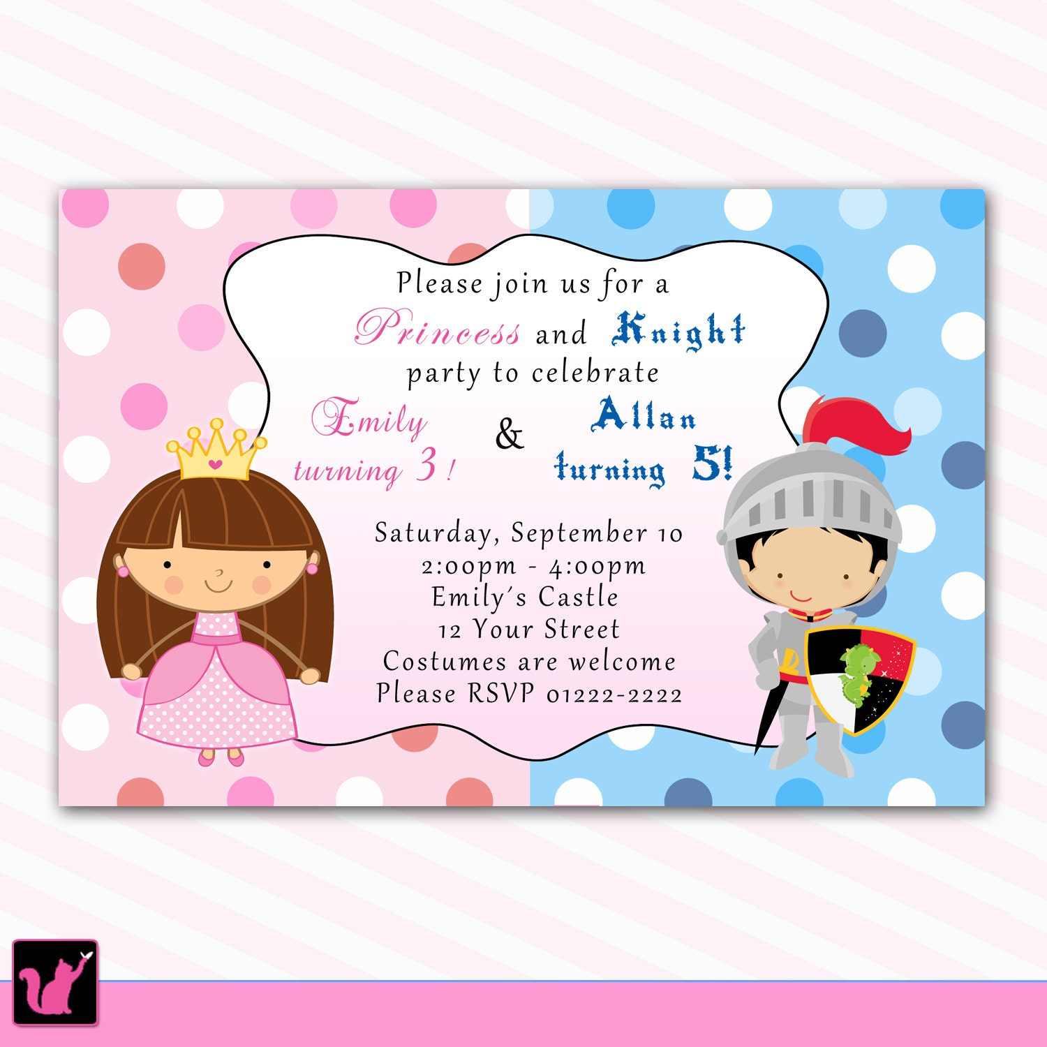 princess birthday invitation knight polka dots siblings boy 🔎zoom