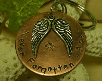 Copper Handstamped Pet Memorial Remembrance Keychain-Never Forgotten