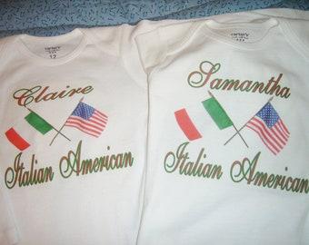 Twin Italian American personalized onesies
