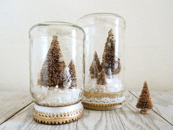 Bottle Brush Christmas Tree Snow Globe Jar in Gold by NellieFellow
