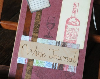 Wine Journal, wine tasting notebook, shabby chic mixed media journal with pyrography Ideal present Gift for him, for a wine maker