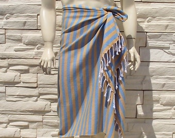 Turkishtowel-Soft-Highest Quality,Pure Organic Cotton,Hand Woven,Bath,Beach,Spa,Yoga,Towel or Sarong-Mustard and Turquoise Stripes