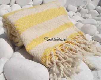 Turkishtowel-Highest Quality Pure Organic Cotton,Hand Woven,Bath,Beach,Spa,Yoga Towel or Sarong-Mathing-Natural Cream and Yellow