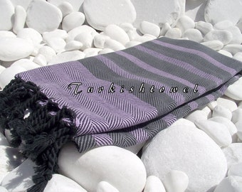 Turkishtowel-Soft-Highest Quality,Pure Organic Cotton,Hand Woven,Bath,Beach,Spa,Yoga,Travel Towel or Sarong-Wisteria,Gray and  Black tassels