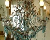 Antique Italian BEADED CHANDELIER Aqua OPALINE Paris Flea Market Treasure