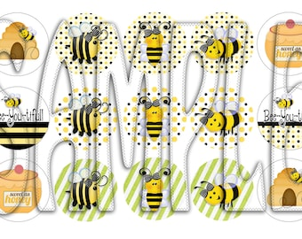 Bee You Tiful Digital Bottle Cap images