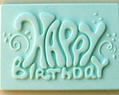 Food Grade Mold (M101) - Happy Birthday Plaque/Design - Flexible Cake Decorating Mold - Reusable - The Art of Cake Decorating