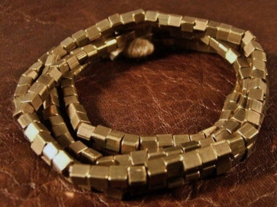Small  Natural  Brass  Cube  Beads