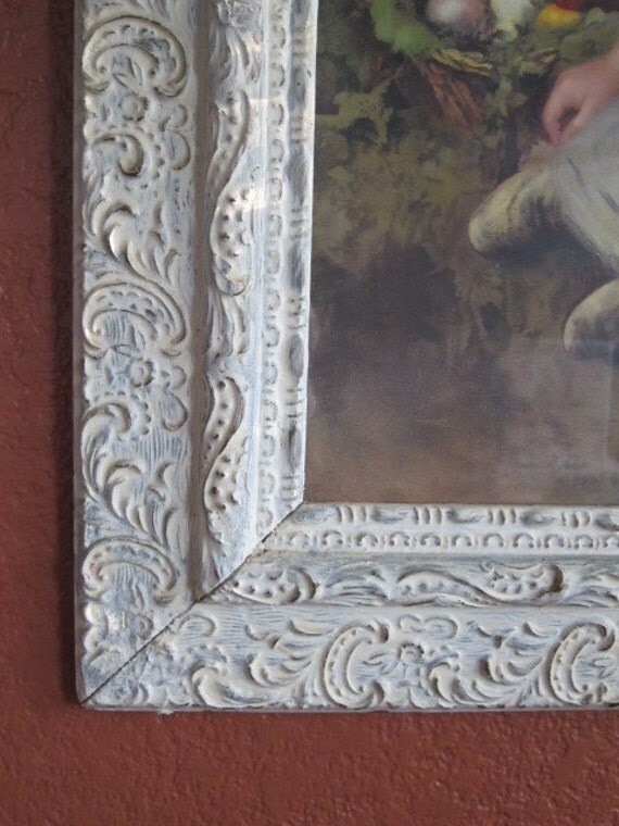 beautiful white washed frame 16x20 cottage chic