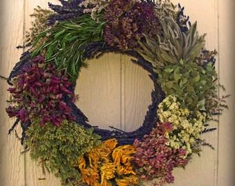 Lavender Mosaic Herbal Dried Wreath 18 inches