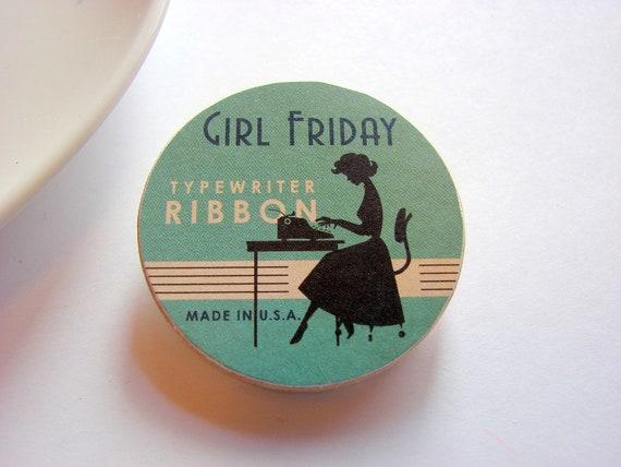 Girl Friday Typewriter Ribbon Pin - Secretary Typing - Medium Paper and Wood Decoupage Brooch - Vintage Retro Kitsch Office Mad Men