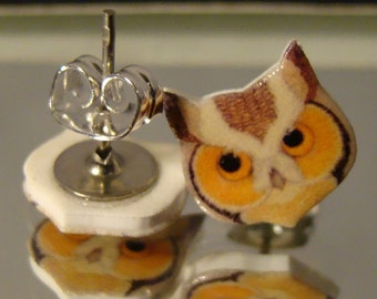 Owl face stud earrings - surgical steel