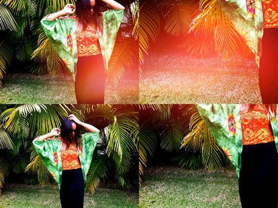 Green Tie Dye Shrug with Fringe and ROAM FREE HAWAII screen on back