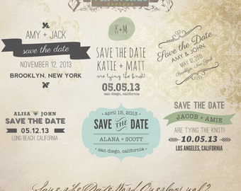 INSTANT DOWNLOAD - Save The Date Words Overlays vol.2