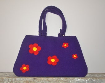 Felted Purse Purple & Red Needle Felted Flower Design Eco Friendly Handmade