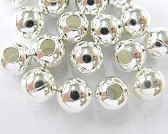 10 of 925 Sterling Silver Round Beads 6 mm. :th0783