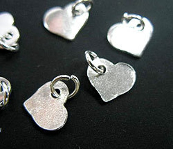 RESERVED - 6 of Karen Hill Tribe Silver Heart Charms 9x7 mm. :ka3139